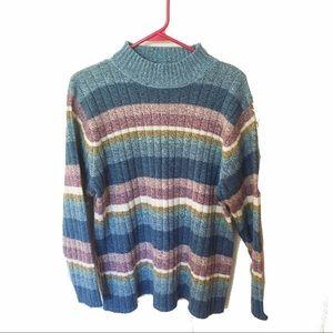 Pastel striped blue purple Carolyn Taylor sweater